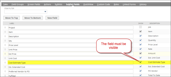 Set Field Visible in Form
