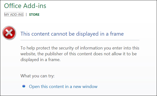 Content Cannot be Displayed