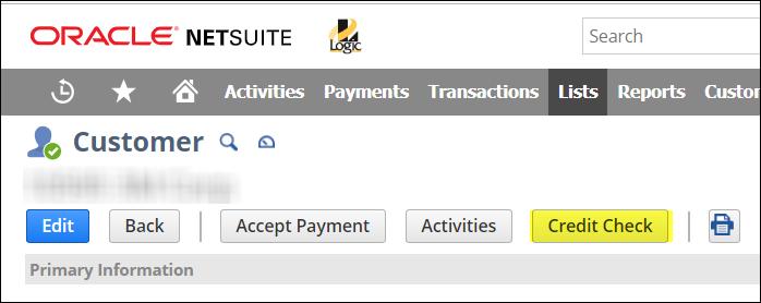 Credit Check Button