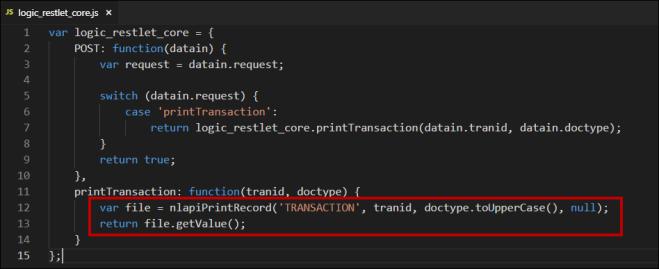 RESTlet code