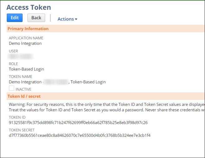 Access Token Details