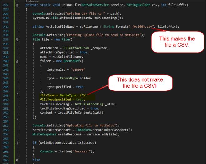 Code Example CSV