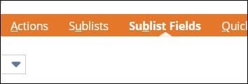 Sublist Fields tab