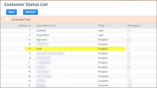 Customer Status List